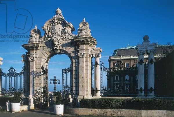Entrance gate to Zichy castle, Buda, Budapest, Hungary
