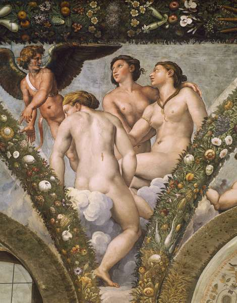 Detail from fresco cycle Stories of Cupid and Psyche, by Raffaello Sanzio (1483-1520) and his assistants, Loggia of Cupid and Psyche, Villa Farnesina, Rome, Italy, 16th century