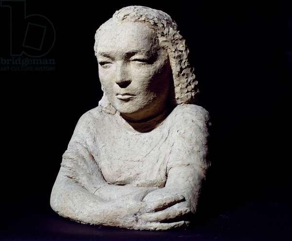 Female bust, self-portrait