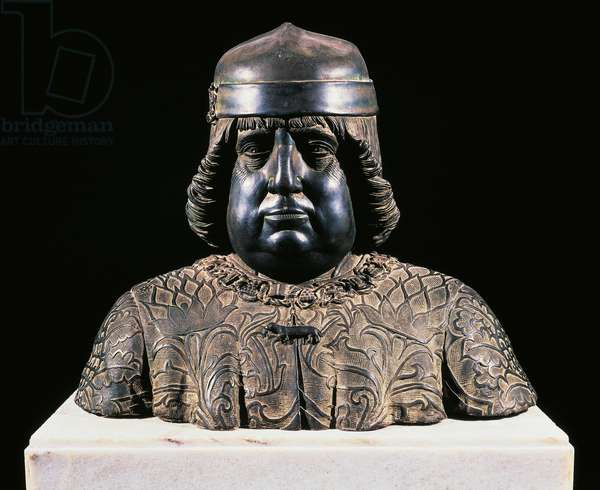 Bust of Alfonso of Aragon, ca 1490, by Guido Mazzoni (ca 1450-1518), bronze sculpture, height 42 cm, Italy, 15th century