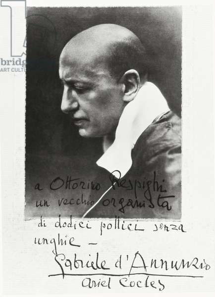 Italy, Photographic portrait of Gabriele D'Annunzio, with dedication to musician Ottorino Respighi
