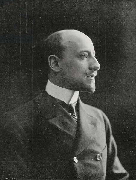 Gabriele D'Annunzio (1863-1938), Italian poet and writer, photograph by Nunes-Vais, from L'Illustrazione Italiana, Year XXX, No 20, May 17, 1903