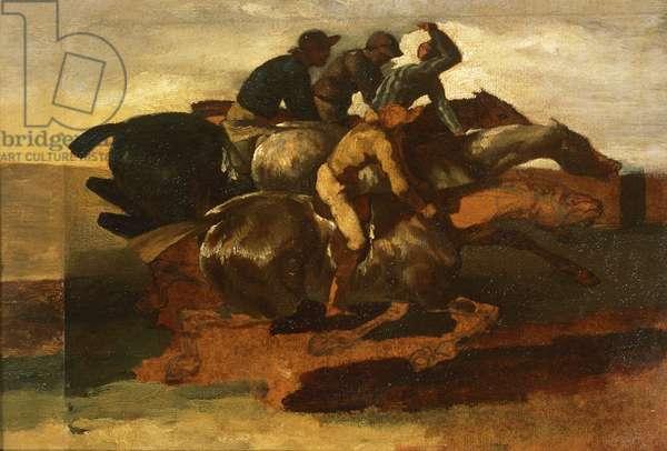 Four jockeys galloping, by Jean-Louis Theodore Gericault (1791-1824)