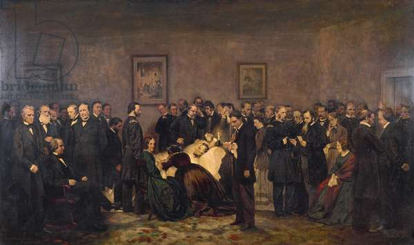 Last hours of Abraham Lincoln (1809-1865), 1868, painting by Alonzo Chappel, oil on canvas, 132x249 cm
