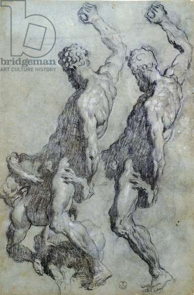 Study of figures by Jacopo Robusti known as Tintoretto (1518-1594), drawing in black pencil and charcoal