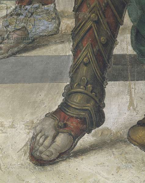 Saint Philip Driving Dragon from Temple of Hieropolis by Filippino Lippi, detail of footwear, fresco, 1502