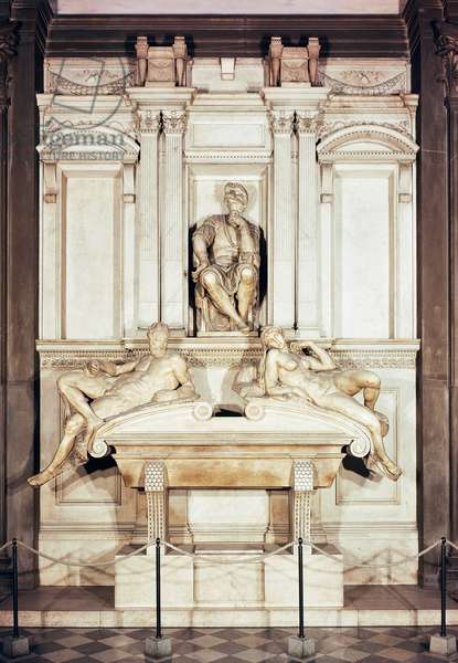 Tomb of Lorenzo de' Medici, Duke of Urbino, 1524-1534, by Michelangelo (1475-1564), marble sculpture. New Sacristy, Medici Chapels of the Basilica of San Lorenzo (St Lawrence) in Florence (UNESCO World Heritage List, 1982), Tuscany. Italy, 16th century.