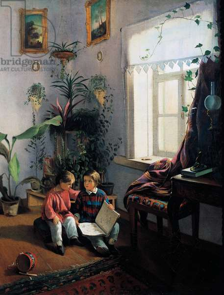 Children browsing picture book, 1854, By Ivan Fomich Khrutsky (1810-1885), Oil on canvas, 50, 5x40, 5 cm