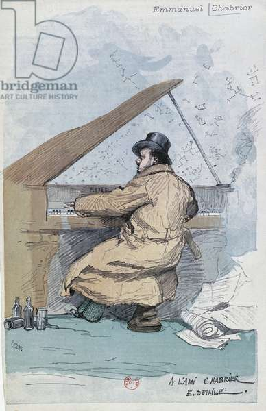 France, Paris, coloured engraving of French composer Emmanuel Chabrier