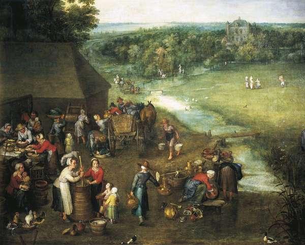Life in countryside, by Jan Brueghel Elder, Velvet Bruegel (1568-1625), Detail