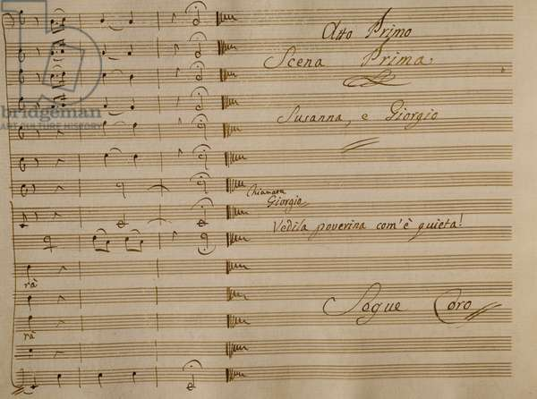 Music score of Nina, or Girl Driven Mad by Love, 1789, by Giovanni Paisiello (1740-1816), Act I, first scene