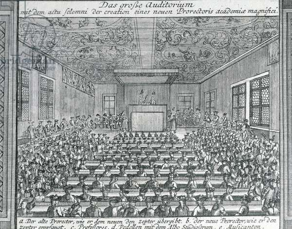 Germany, The great hall at the University of Halle, engraving