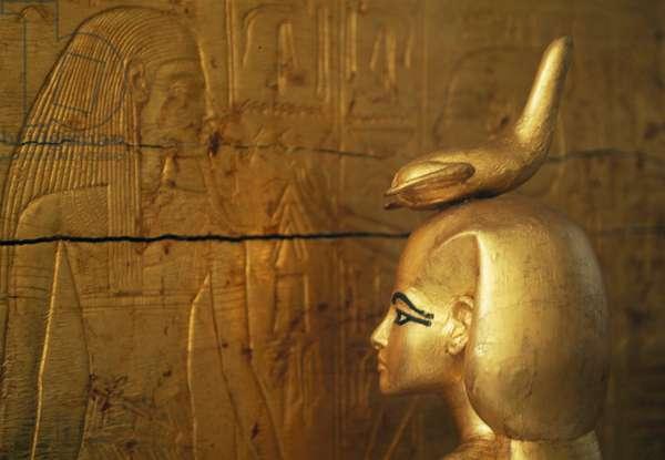 Statue of Selkis or Serket protecting chest of canopic jars, Treasury of Tutankhamun, 1333-1323 BC, Egypt, Egyptian civilization, New Kingdom, Dynasty XVIII