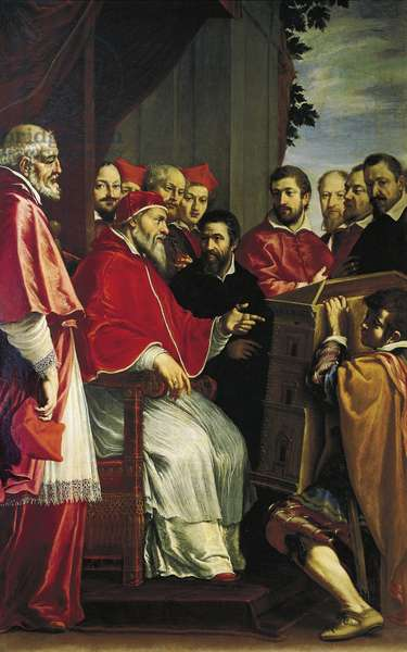 Michelangelo presenting model of building of Rota court in Giulia street to pope Julius III, 1615-1617, by Fabrizio Boschi (1572-1642)