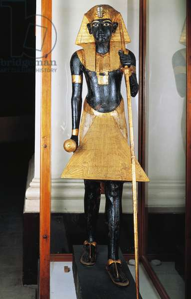 Royal Ka, Guardian spirit of Tutankhamun, Decorated wooden statue, Height 167 cm, Found in antechamber of Pharaoh's tomb (KV62), Valley of the Kings, Thebes, Egyptian civilization, New Kingdom, Dynasty XVIII