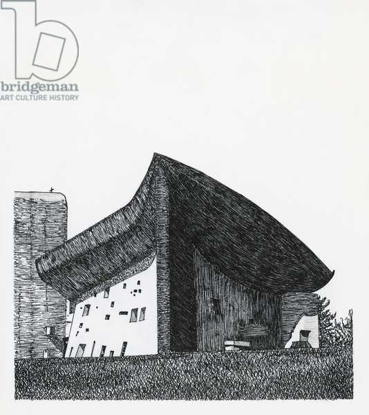 Chapel of Notre Dame du Haut in Ronchamp, 1955, architect Le Corbusier, drawing, France