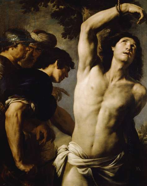 Martyrdom of St Sebastian by Andrea Vaccaro (1604-1670), oil on canvas, 130x102 cm