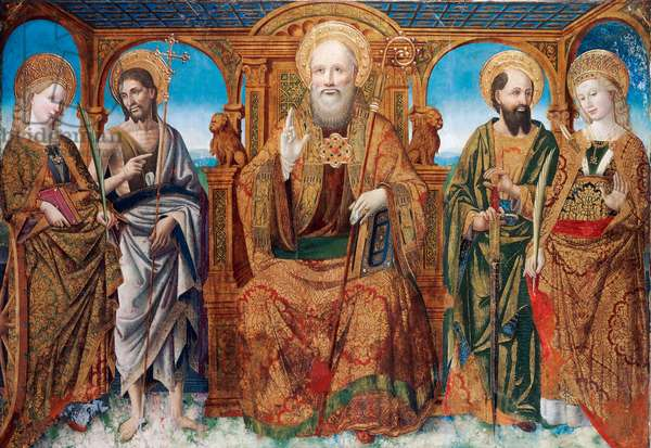 St Mark the Evangelist enthroned between Saints Catherine and John the Baptist, Saints Paul and Giustina, ca 1465-1470, by Giovanni Mazone (active 1453-ca 1512), panel, 123.2x175.3 cm