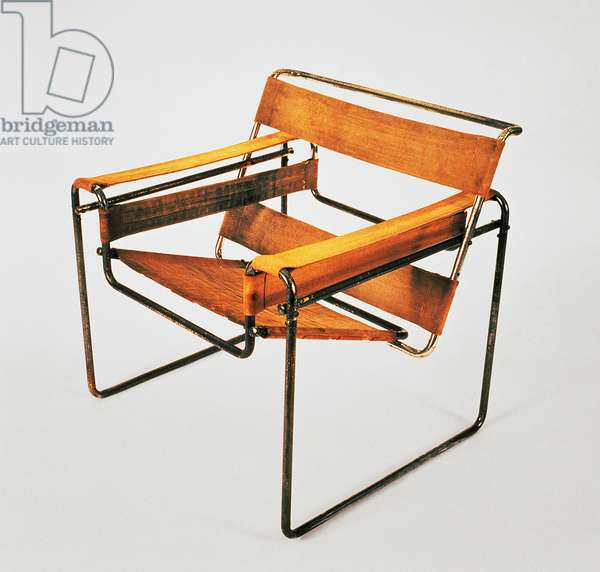 B3 chair, Wassily, 1925, by Marcel Breuer (1902-1981), nickel-plated steel tube frame, seat and backrest in eisengarn or leather. Hungary, 20th century.