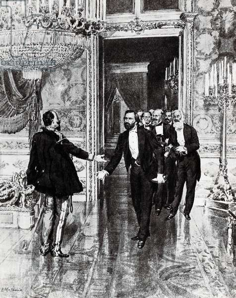 Composer Giuseppe Verdi delivering plebiscite of Emilia to Victor Emmanuel II of Savoy on September 15, 1859, drawing, Italy, 19th century