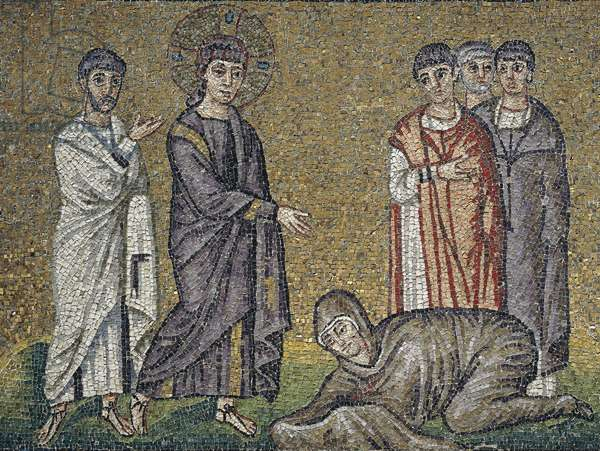 The healing of the hemorrhage, mosaic, north wall, upper level, Basilica of Sant'Apollinare Nuovo (UNESCO World Heritage Site, 1996), Ravenna, Emilia-Romagna. Italy, 5th-6th century.