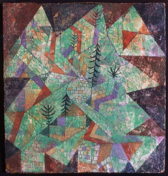 Wald Bau, 1919, by Paul Klee (1879-1940), mixed media on chalk, 27x25 cm. Switzerland, 20th century.
