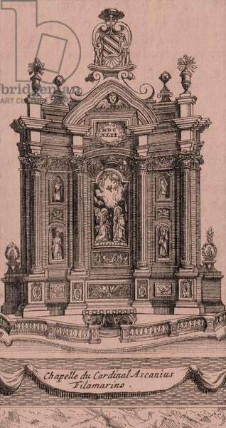 Filomarino Altar, by Francesco Borromini (1599-1667), Church of Holy Apostles, Naples, Campania, Italy, copper engraving, ca 7.5x13 cm
