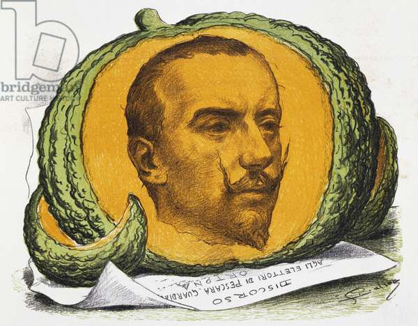 Seasonal fruit, cartoon about Gabriele D'Annunzio from The Pasquino, 29 August, 1897, Italy, 19th century