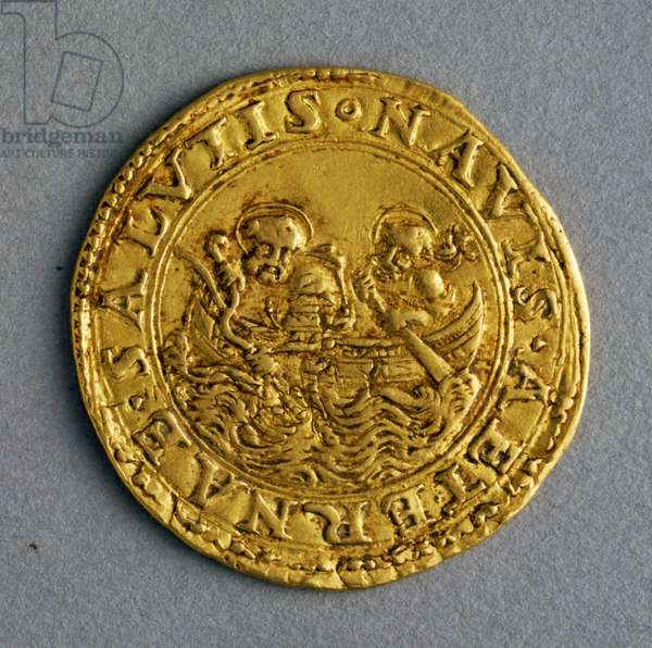 Double florin of Chamber of Pope Julius II (1503-1513), reverse, St Peter and St Andrew on boat, Papal States, 16th century