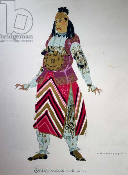Costume for a servant from Turandot by Giacomo Puccini, sketch by Umberto Brunelleschi (1879-1949) for the first performance of the opera at the Teatro alla Scala in Milan, April 25, 1926. 20th century