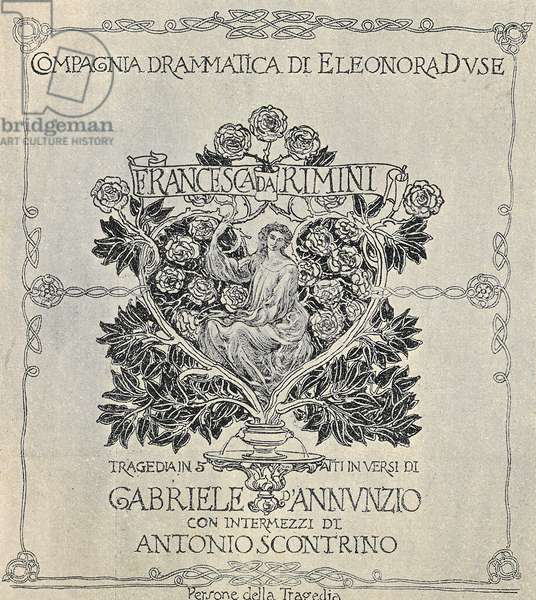 Poster for Francesca da Rimini, 1902, by Gabriele D'Annunzio (1863-1938), production staged by Eleonora Duse's company
