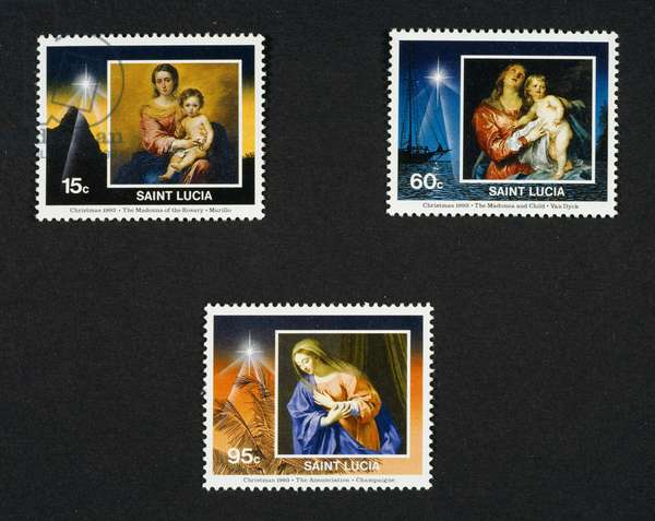 Postage stamps from Christmas series, 1993, depicting Madonna del Rosario by Bartolome Esteban Murillo, Virgin and Child by Anton van Dick, Annunciation (detail) by Philippe de Champaigne, Saint Lucia, 20th century