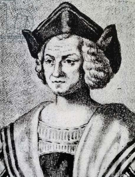 Portrait of Christopher Columbus (1451-1506), engraving by Theodore de Bry (1528-1598), 16th century