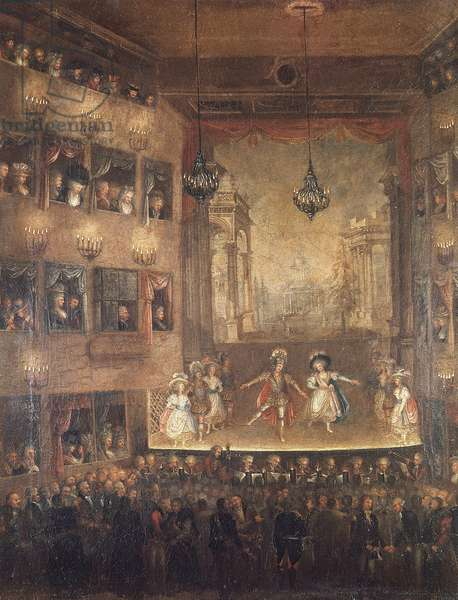 Performance of opera Pirro, by Giovanni Paisiello (1740-1816) at Narodowy theatre, Warsaw, 1790