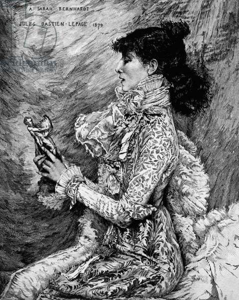 Portrait of Sarah Bernhardt (1844-1923), French stage and film actress, etching by Eugene Andre Champollion (1848-1901) after painting by Jules Bastien-Lepage (1848-1884), 1879