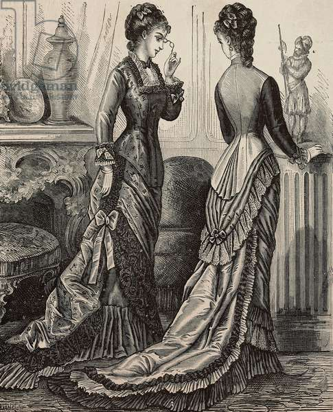 Women wearing faye and Pompadour silk toilette, on the left, and faye toilette, Madame Delaunay designs, engraving from La Mode Illustree, No 5, February 2, 1879