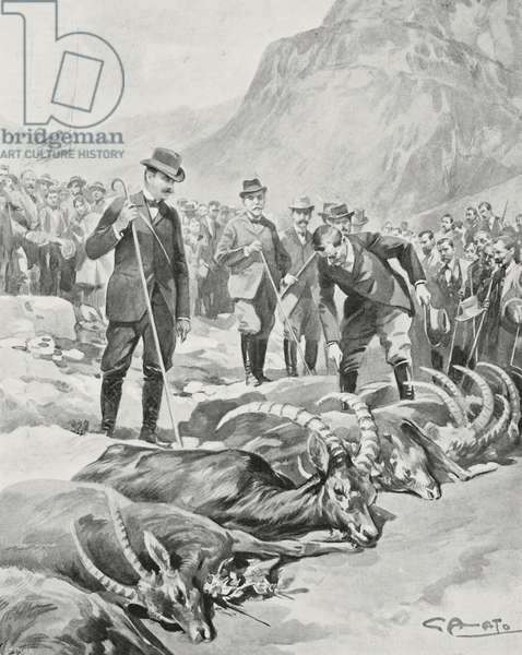 King Vittorio Emanuele III hunting ibex in Valsavarenche, Italy, drawing by Gennaro Amato, from L'Illustrazione Italiana, Year XXXII, No 33, August 13, 1905