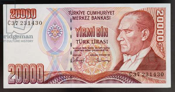 20000 lirasi banknote, 1980-1989, obverse, portrait of Mustafa Kemal Ataturk (1881-1938), Turkey, 20th century