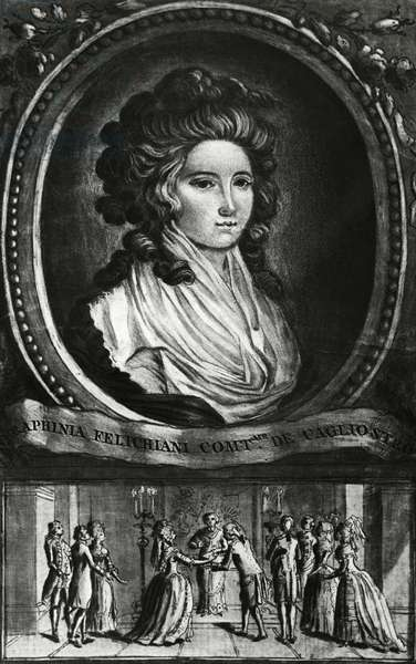 Portrait of Lorenza Feliciani known as Serafina (born 1754), Countess of Cagliostro, wife of Count Alessandro of Cagliostro (pseudonym Giuseppe Balsamo, 1743-1795), Below, their marriage which took place on April 21, 1768, Engraving 18th century