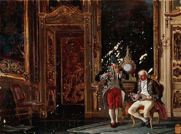 Tiepolo's drawing room, painting by Paolo Catalano (19th century), oil on canvas, 40x54 cm