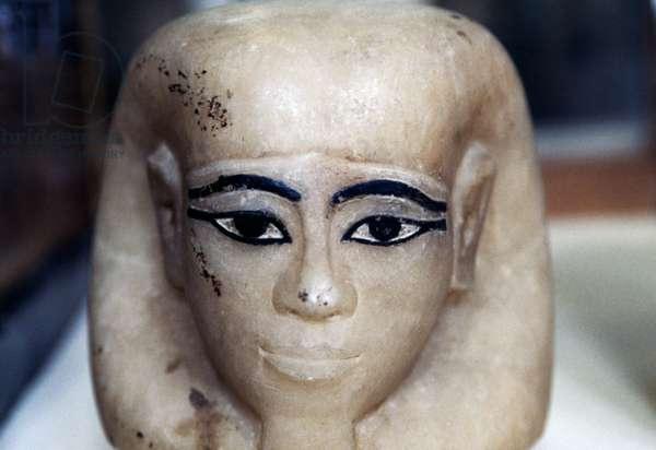 Canopic jar shaped like human head, painted alabaster, treasure of Tutankhamun, 1333-1323 BC Egyptian civilization, Dynasty XVIII