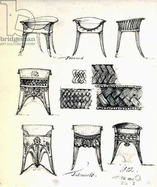 Designs for tabourets, 1802, by Carl Haller von Hallerstein (1774-1817), Germany, 19th century