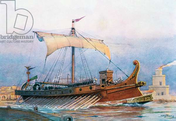 Roman imperial era ship leaving arsenal, watercolour by Albert Sebille (1874-1953)