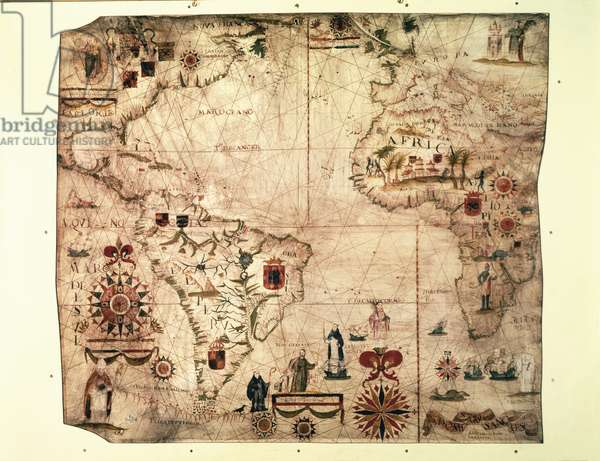 Map of Africa and South America by Domingo Sanchez, 1618