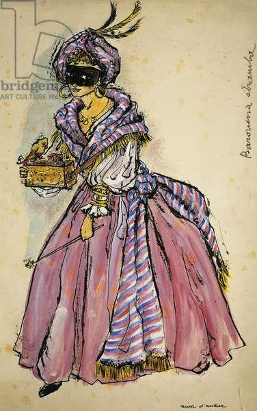 Costume sketch by D'Andrea for Colombina in the opera La Baronessa Stramba (The Odd Baroness, 1776), by Domenico Cimarosa (1749-1801)