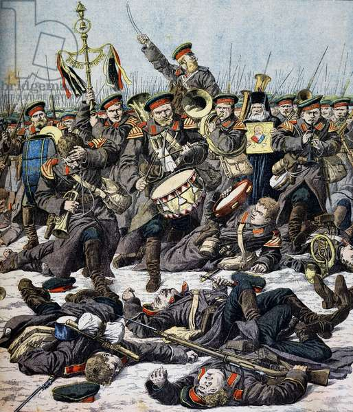 Russian regimental band continuing to play as battle rages ca Yalu River, illustration from Petit Journal, 1904, Russo-Japanese War, North Korea, 20th century