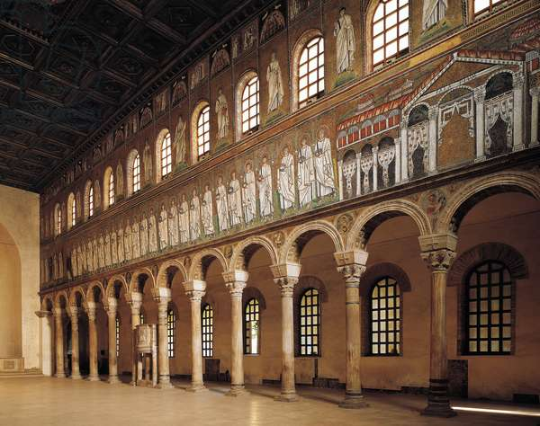 Italy, Emilia-Romagna, Ravenna, Basilica of Sant'Apollinare Nuovo, Central and northern nave