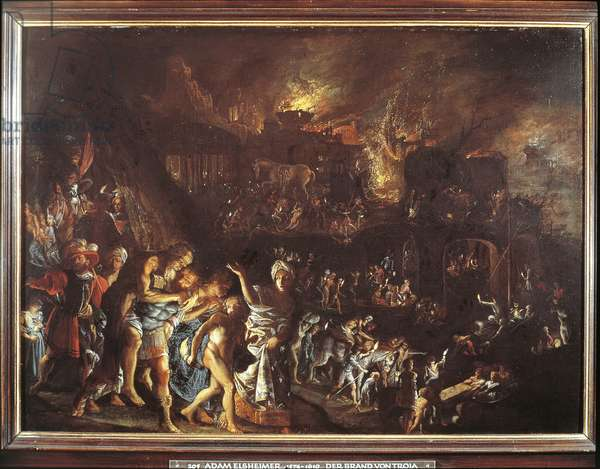 The Burning of Troy, c. 1604 (oil on copper)