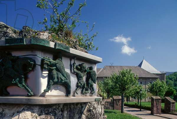 Monument in memory of Battle of Roncesvalles, built on occasion of its twelfth centenary (15 August 1978), Roncesvalles, on Way of St James of Compostela (UNESCO World Heritage List, 1993), Navarra, Spain