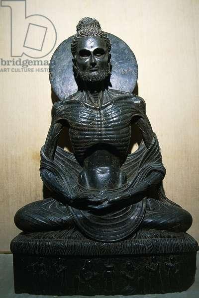 Statue of ascetic Buddha, Pakistani art